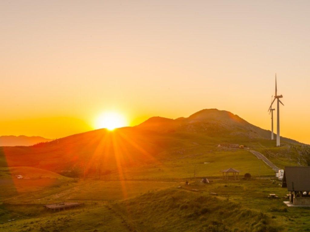 天狗高原の夕日