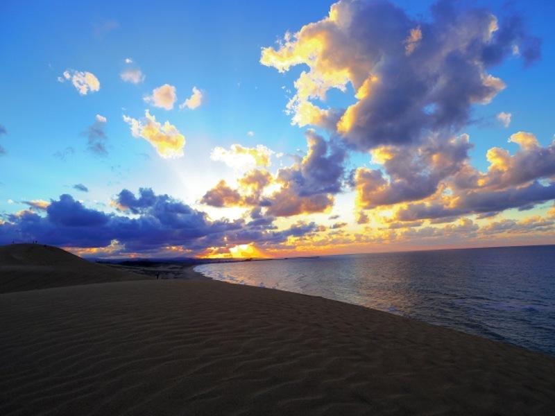 鳥取砂丘夕景画像