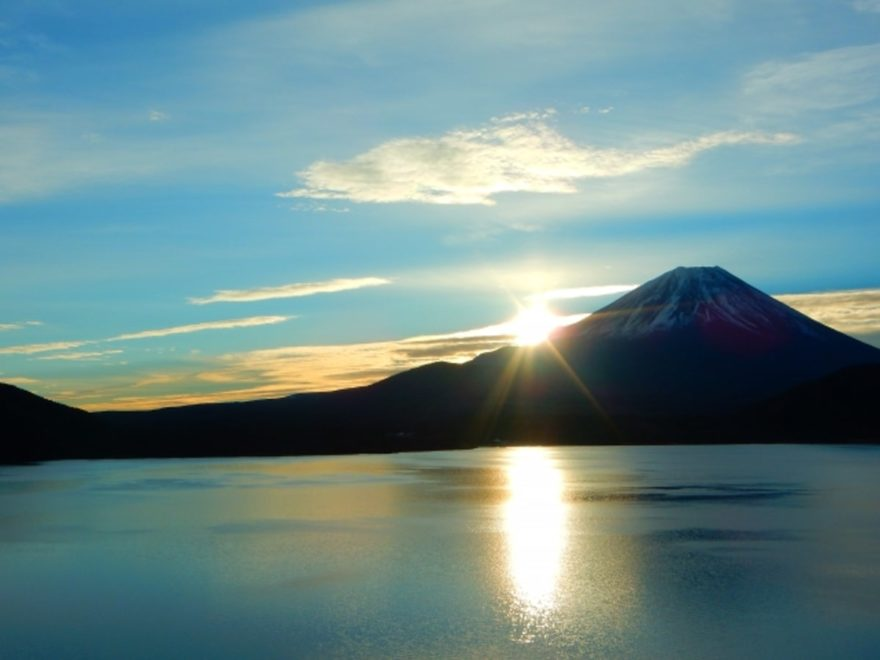 本栖湖と富士山