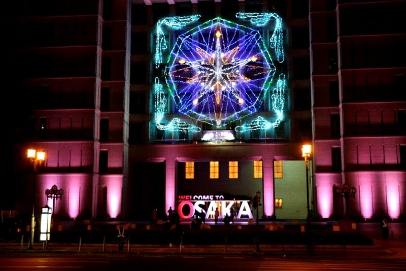大阪市役所ライトアップ