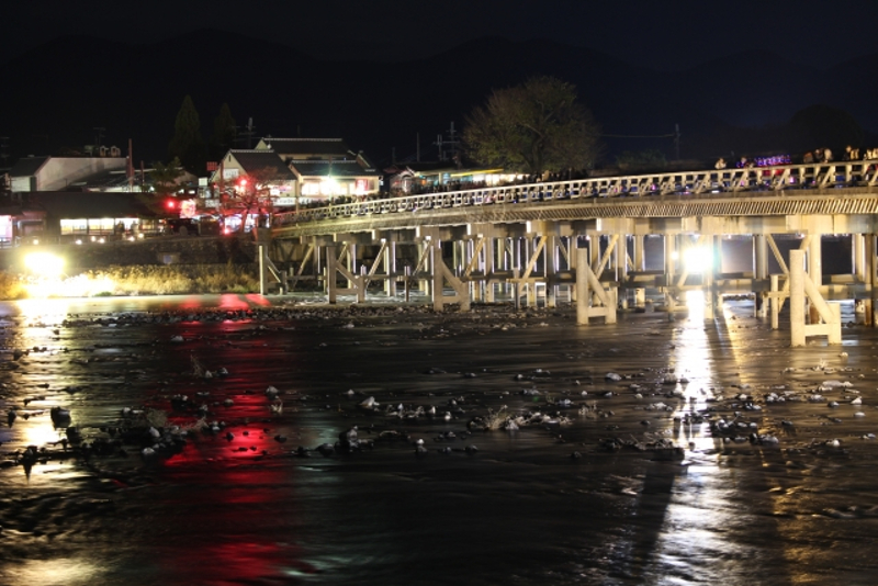 渡月橋ライトアップ画像